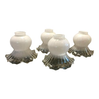 Fenton Silver Crest Glass Lamp Shades - Set of 4