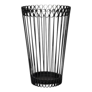 Scalloped Rim Iron Wastebasket or Umbrella Stand, Austrian 1950s