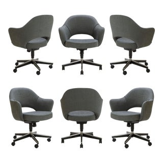 Customizable Saarinen Executive Arm Chairs in Textured Charcoal Weave, Swivel Base - Set of Six