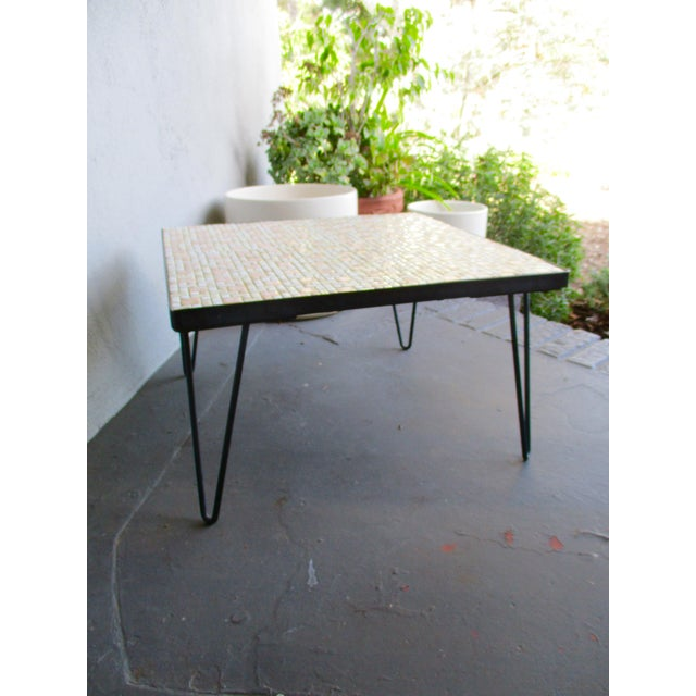 Mosaic Mid-Century Modern Orange and White Coffee Table Patio Furniture - Image 6 of 11