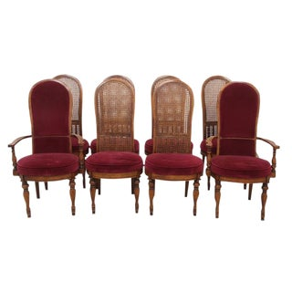 Cane Back Velvet Dining Chairs, S/8