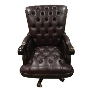 Old English Burgundy Tufted Faux Leather Office Chair
