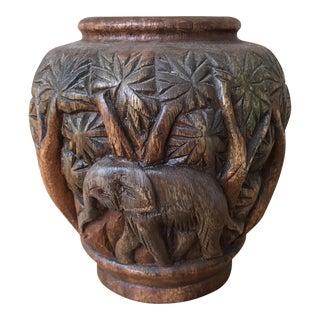 Hand Carved Wooden Elephant Vase
