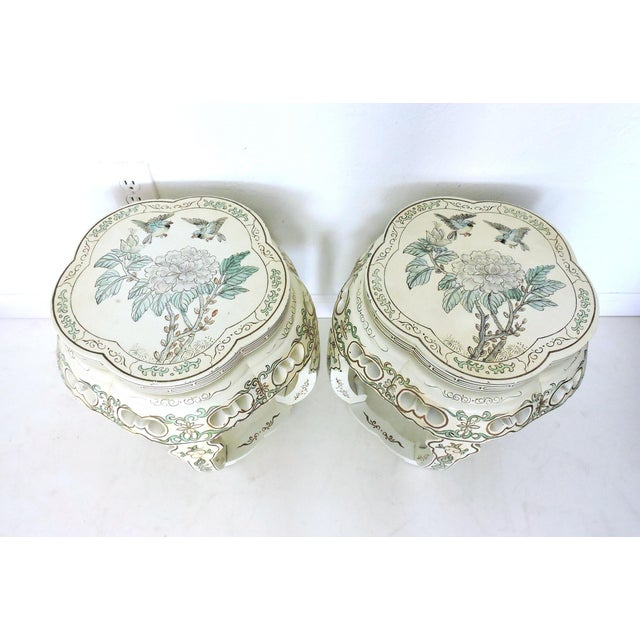 Image of Oriental Lacquer Garden Stools - a Pair