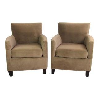 Beige Microsuede Armchairs - A Pair