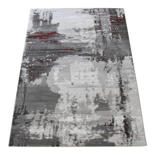 Abstract Red Stripes & Gray Rug - 2'8''x 10'
