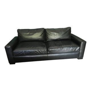 Restoration Hardware Black Leather Sofa