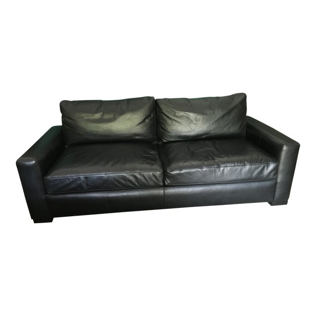 Restoration Hardware Leather : Restoration hardware black leather sofa chairish