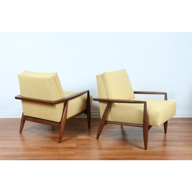 Mid-Century Ecru Lounge Chairs - A Pair - Image 2 of 11