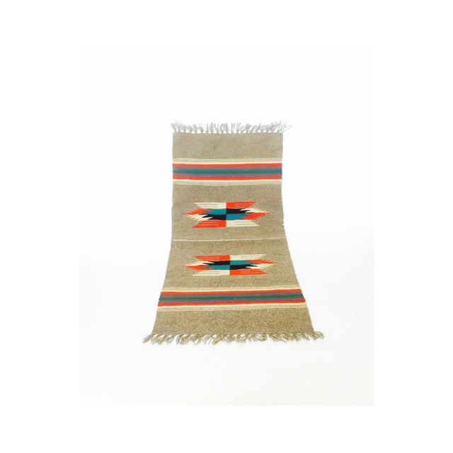 Vintage Gray Mexican Rug - 1′2″ × 2′6″ - Image 2 of 5