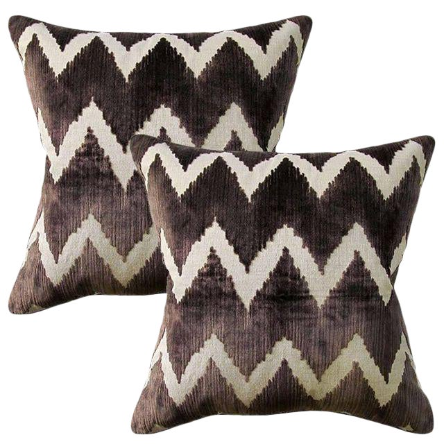 Lee Jofa Belgian Velvet Accent Pillows - Pair - Image 1 of 2
