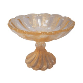 Ercole Barovier Gold Flecked Murano Footed Compote