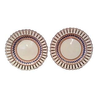 Wedgwood Creamware Pierced Rim Painted Plates - A Pair
