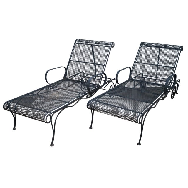 Expandable metal iron patio chaise lounge pair chairish for Black metal chaise lounge