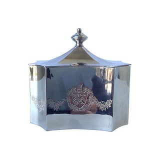 Silver Plate Keepsake Box With Shield Crest