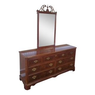 Drexel Heritage Banded Mahogany Chippendale Style Bedroom Dresser w/ Mirror c1980s