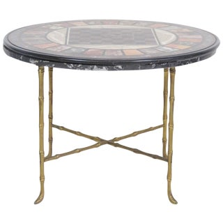 Pietra Dura Faux Bamboo Brass Marble-Top Game Table