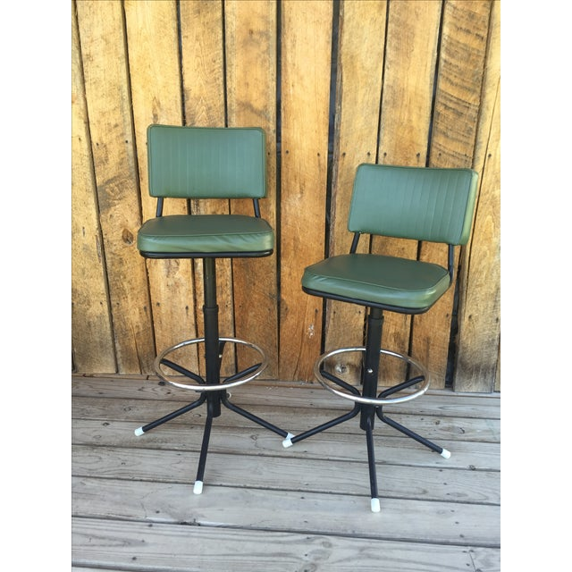 Mid-Century Bar Stools in Jade - A Pair - Image 2 of 11