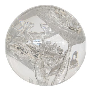 Suspended Bubble Inclusion Lucite Sphere Sculpture