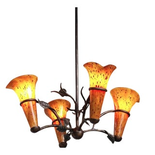 Forged Chandelier with Blown Glass Shades