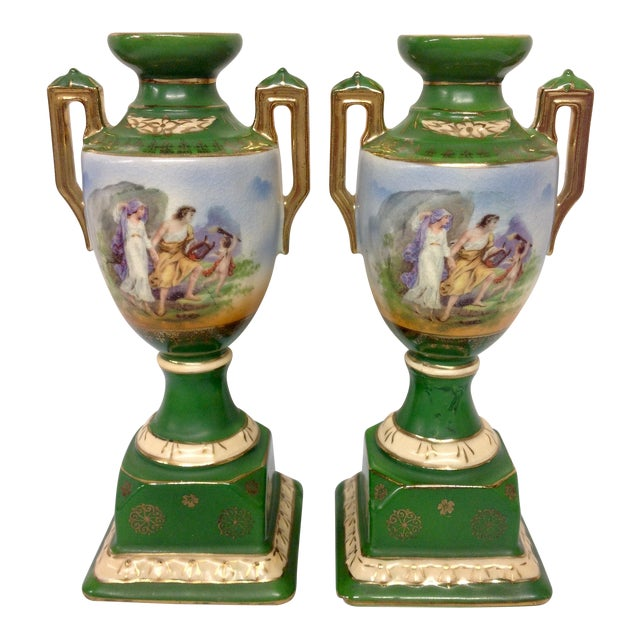 Vintage Erphila Pottery Green Handled Urns - Pair - Image 1 of 6