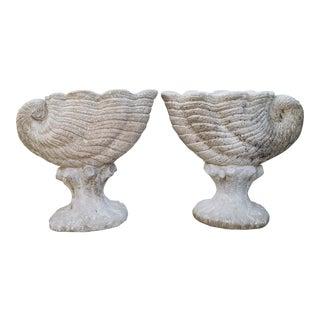 Cast Stone Nautilus Planters - A Pair