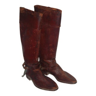 Rustic Leather Riding Boots & Spurs