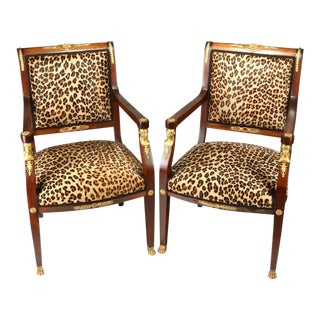 High End 20th Century Empire Style Chairs - a Pair