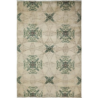 "New Oushak Hand Knotted Area Rug - 4'1"" x 6'"