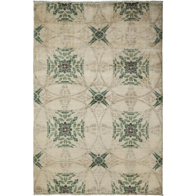 """Image of New Oushak Hand Knotted Area Rug - 4'1"""" x 6'"""