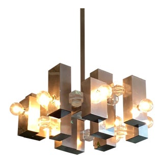 Gaetano Sciolari Mod Chrome Geometric Chandelier