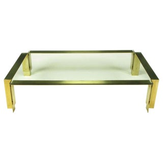 "72"" Postmodern Brushed Brass & Glass Coffee Table"