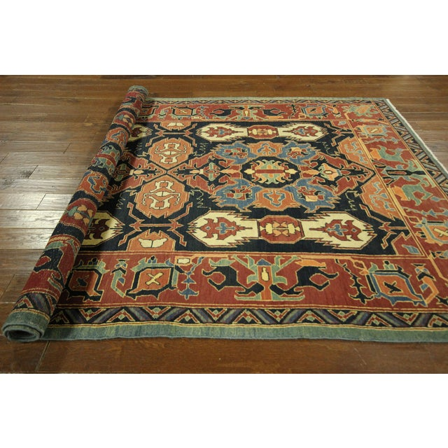 "Navy Chobi Hand Knotted Wool Rug - 6'6"" x 9'10"" - Image 8 of 9"