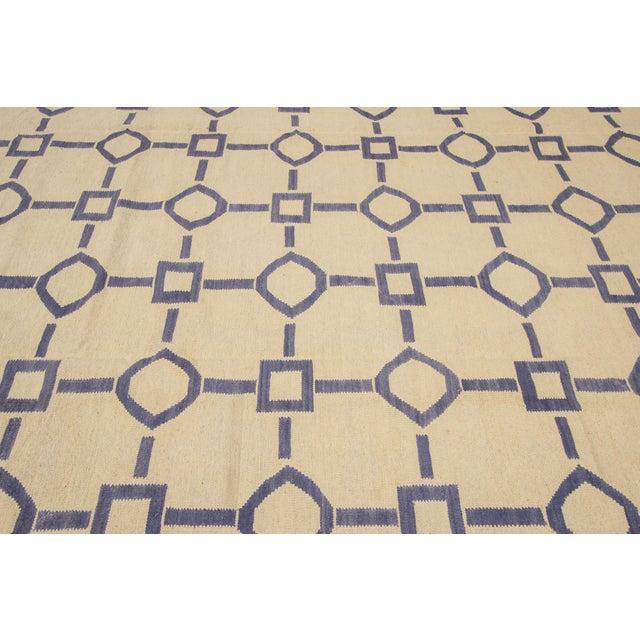 "Apadana Blue & Ivory Geometric Kilim - 9' X 12'2"" - Image 5 of 7"