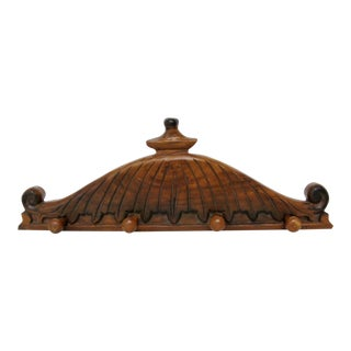 Wood Pediment Coat Rack