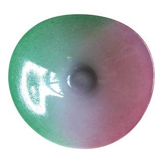 Organic Free Form Pink & Green Murano Glass Bowl