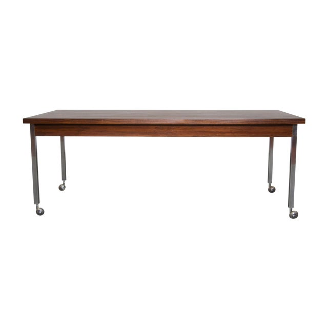 Large Rosewood Rolling Coffee Table - Image 1 of 8