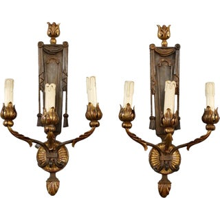 French Neoclassical Three-Light Gilt Metal Sconces