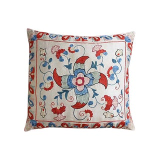Silk-Embroidered Uzbek Pillow Sham