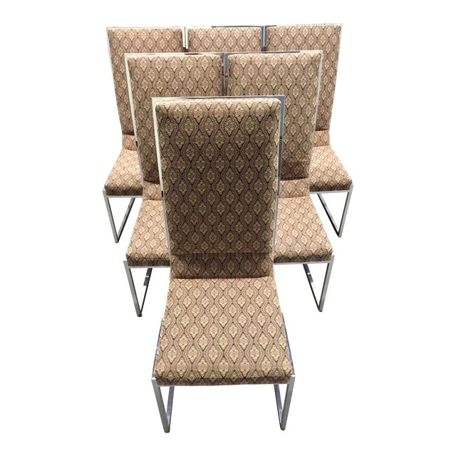 Image of Milo Baughman Patterned Dining Chairs - Set of 6