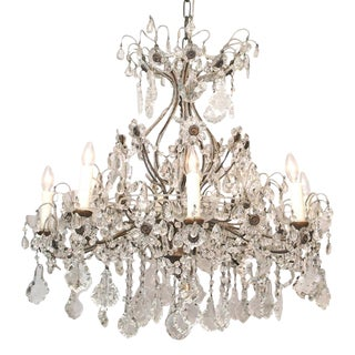 Eight Light Crystal Chandelier with Flowers on Beaded Stems