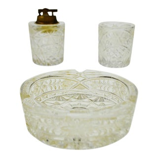 Lalique Style Lighter, Ashtray and Cigarette / Match Holder Set