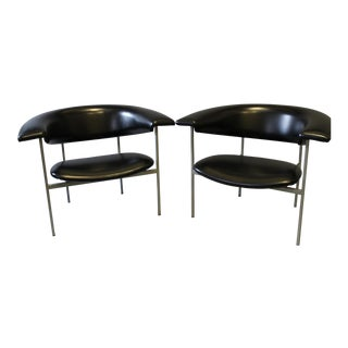 Rudolf Wolf Fauteuil Original Black Vinyl Chairs - A Pair