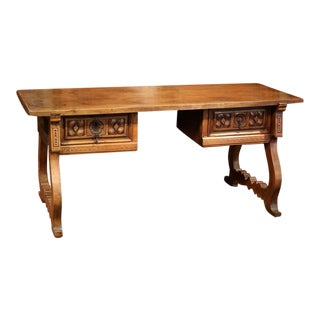 Mid-19th Century Spanish Carved Walnut Desk With Drawers