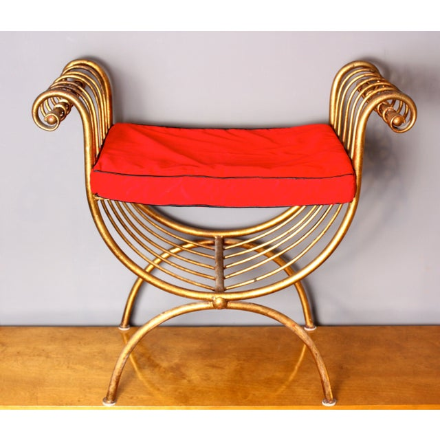 Italian Gilded Metal Stool/Bench with Cushion - Image 2 of 6