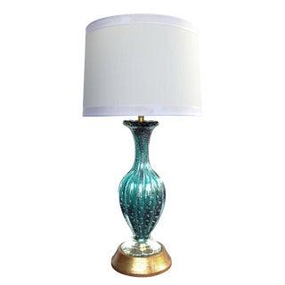 Luminous Murano Teal Art Glass Silver Aventurine Bullicante Lamp, Barovier Toso