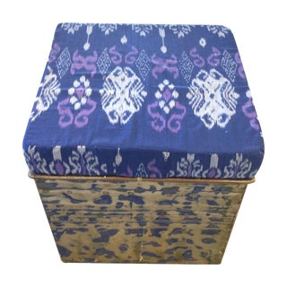 Stained Metal Ottoman with Kantha Cushion - Blue