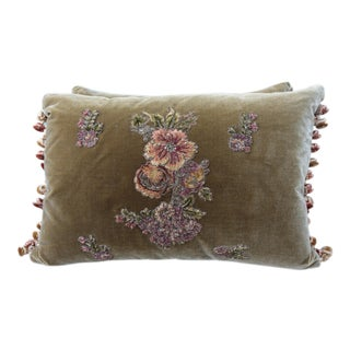 Brown Silk Velvet Floral Applique Pillows - A Pair