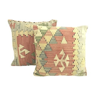 Geometric Turkish Kilim Pillows - A Pair