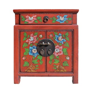 Chinese Oriental Distressed Red Orange End Table